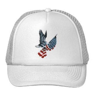 Eagle calvo con la bandera americana gorros