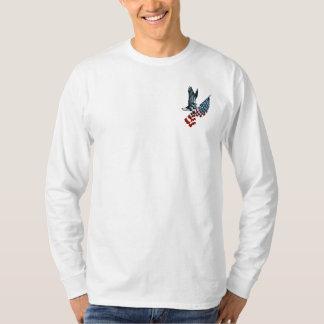 Eagle calvo con la bandera americana polera