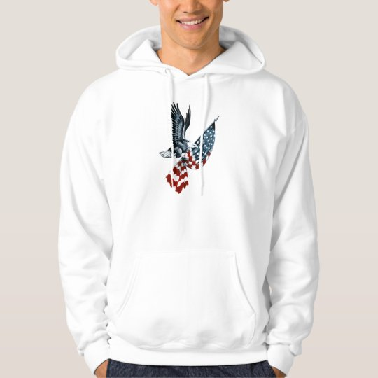 Eagle calvo con la bandera americana sudadera
