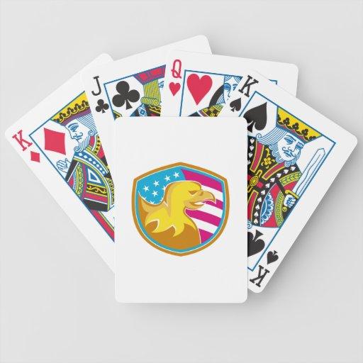 Eagle calvo con las barras y estrellas americanas baraja cartas de poker