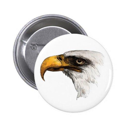 Eagle calvo de cabeza blanca pin redondo de 2 pulgadas