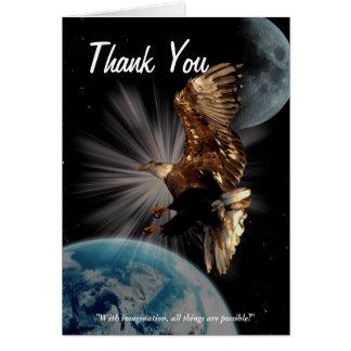 Eagle calvo de motivación le agradece cardar tarjeta de felicitación