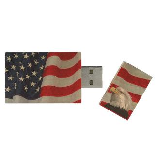 EAGLE CALVO E IMPULSIÓN DE FLAG-USB MEMORIA USB 3.0 DE MADERA