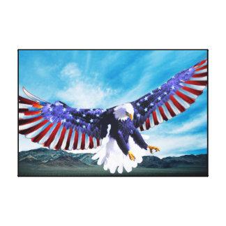 Eagle calvo el 4 de julio envolvió impresión en lienzo