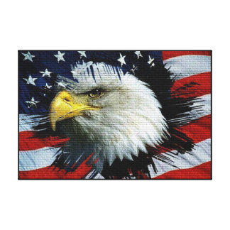 Eagle calvo el 4 de julio envolvió lienzo envuelto para galerias