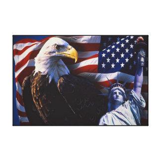 Eagle calvo el 4 de julio envolvió impresión de lienzo