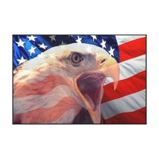 Eagle calvo el 4 de julio envolvió impresiones en lona