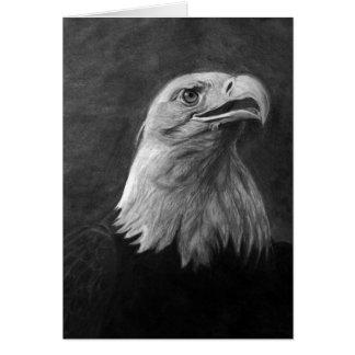 Eagle calvo grafito dibujado mano felicitacion