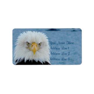 Eagle calvo gruñón etiquetas de dirección
