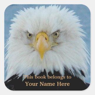 Eagle calvo gruñón pegatina cuadrada