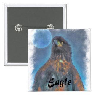 Eagle calvo joven real y pintura de la luna pin cuadrado