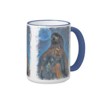 Eagle calvo joven real y pintura de la luna taza de dos colores