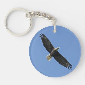Eagle calvo llavero redondo acrílico a una cara