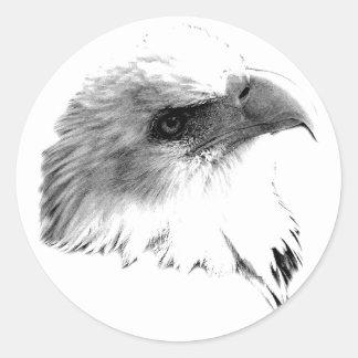 Eagle calvo majestuoso. Grabado de Digitaces de la Pegatina Redonda