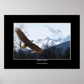Eagle calvo montañas y poster del alcohol del Hai