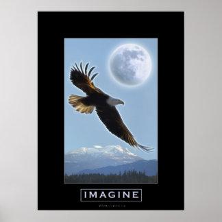 Eagle calvo, montañas y poster del arte de la