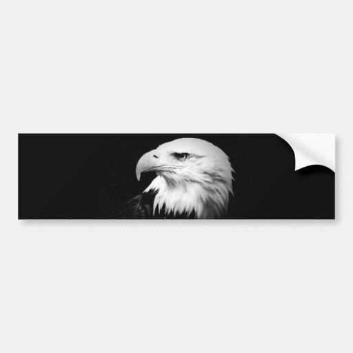 Eagle calvo negro y blanco etiqueta de parachoque