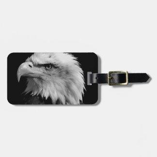 Eagle calvo negro y blanco etiqueta para maleta