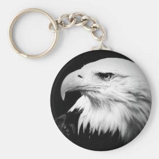 Eagle calvo negro y blanco llavero redondo tipo pin