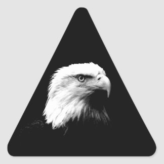 Eagle calvo negro y blanco pegatina triangular