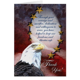 Eagle calvo patriótico le agradece cardar tarjeta de felicitación