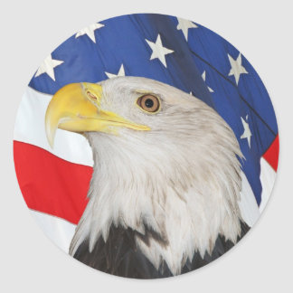 Eagle calvo patriótico y pegatina de la bandera