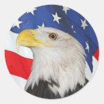 Eagle calvo patriótico y pegatina de la bandera am