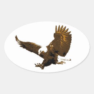 Eagle calvo que aterriza a los pegatinas ovales
