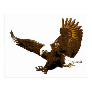 Eagle calvo que aterriza las postales