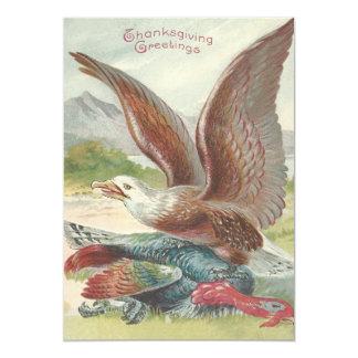 """Eagle calvo que coge la acción de gracias Turquía Invitación 5"""" X 7"""""""