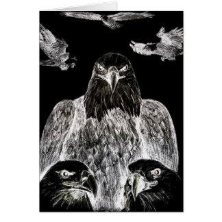 Eagle calvo que dibuja inversión del dibujo de lá tarjetas