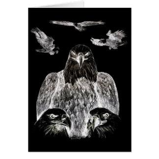 Eagle calvo que dibuja inversión del dibujo de lá felicitación