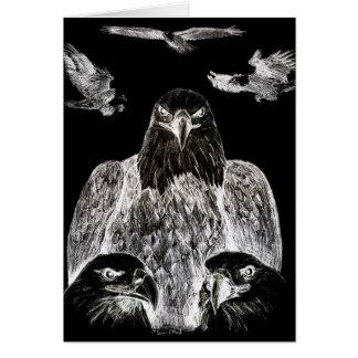 Eagle calvo que dibuja inversión del dibujo de lá tarjeta