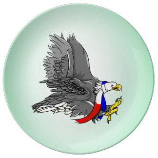 Eagle calvo que lleva la bufanda de cuello platos de cerámica