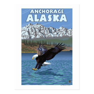 Eagle calvo que se zambulle - Anchorage, Alaska Tarjeta Postal