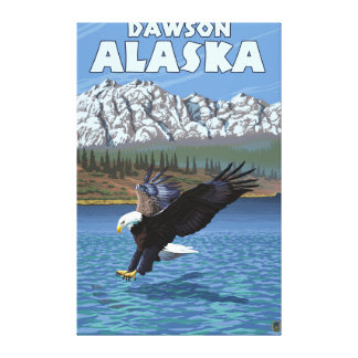 Eagle calvo que se zambulle - Dawson, Alaska Impresión En Lona