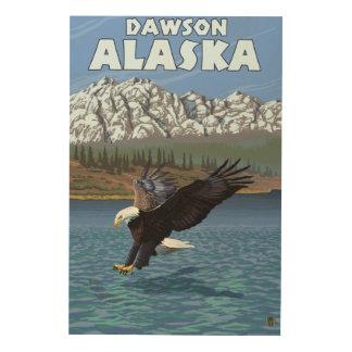 Eagle calvo que se zambulle - Dawson, Alaska Cuadro De Madera