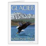 Eagle calvo que se zambulle - Parque Nacional Glac Tarjeta De Felicitación