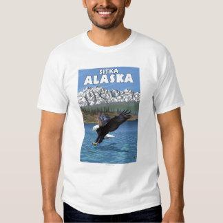 Eagle calvo que se zambulle - Sitka, Alaska Playeras