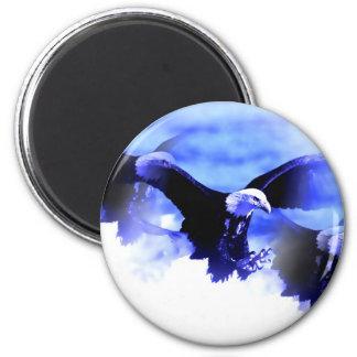 Eagle calvo que vuela imán redondo 5 cm
