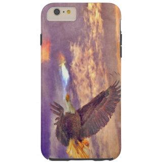 Eagle calvo que vuela y arte crepuscular de la funda de iPhone 6 plus tough
