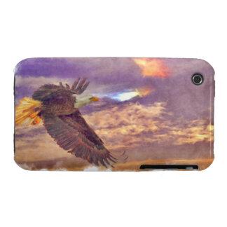 Eagle calvo que vuela y arte crepuscular de la iPhone 3 cobertura