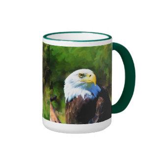 Eagle calvo y arte de la fauna de la luz del sol taza de dos colores