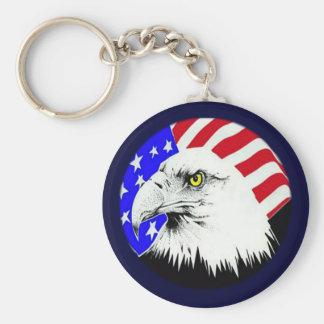 Eagle calvo y bandera americana llavero redondo tipo pin