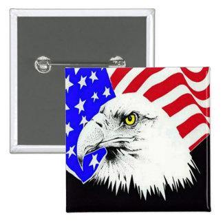 Eagle calvo y bandera americana pin cuadrado
