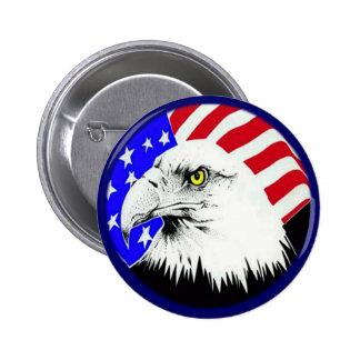 Eagle calvo y bandera americana pin redondo de 2 pulgadas