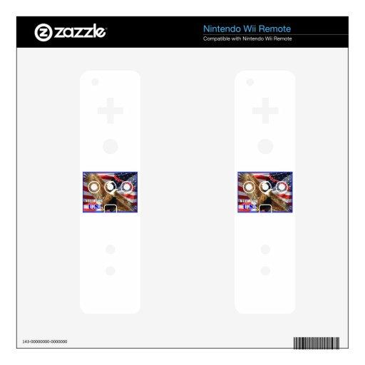 Eagle calvo y bandera de los E.E.U.U. Calcomanía Para Mando Wii