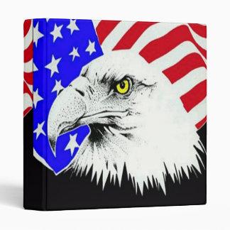 Eagle calvo y carpeta de la bandera americana
