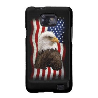 Eagle calvo y la bandera Samsung patriótico de los Samsung Galaxy SII Carcasas