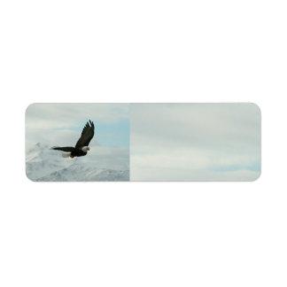 Eagle calvo y montañas etiquetas de remite